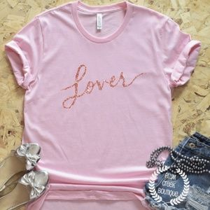 👚 LOVER Tshirt Rose Gold Pink Swiftie NEW